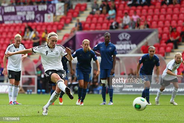 Pauline Bremer of Germany U19 women scores from the penalty spot during the UEFA Women's U19 Semi- Final match between Germany U19 women and France...
