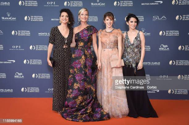 Pauline Bression Rebecca Hampton Lea Francois and Fabienne Carat attend the opening ceremony of the 59th Monte Carlo TV Festival on June 14 2019 in...