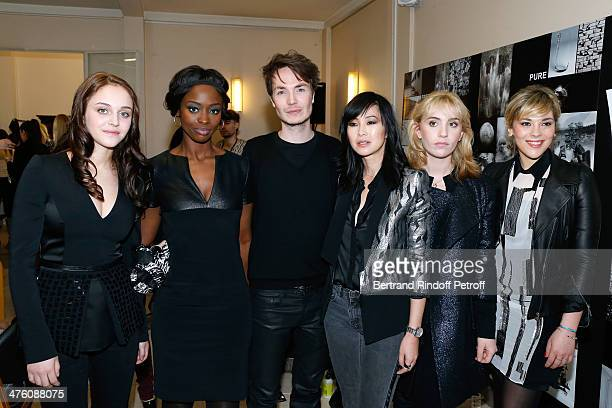 Pauline Burlet Aissa Maiga Fashion designer Maxime Simoens LinhDan Pham Lolita Chammah and Alysson Paradis pose backstage after the Maxime Simoens...
