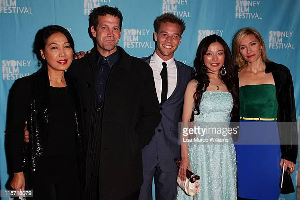 Pauline Chan Rhys Muldoon Lincoln Lewis Zhu Lin and Claudia Karvan arrive at the Sydney screening of '33 Postcards' at Dendy Opera Quays Cinema on...