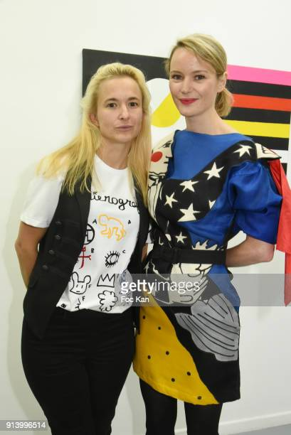 Pauline de Drouas and Magda Danysz from Galerie Magda Danysz attend I Want The Empire of Collaborations Jean Charles de Castelbajac Exhibition...