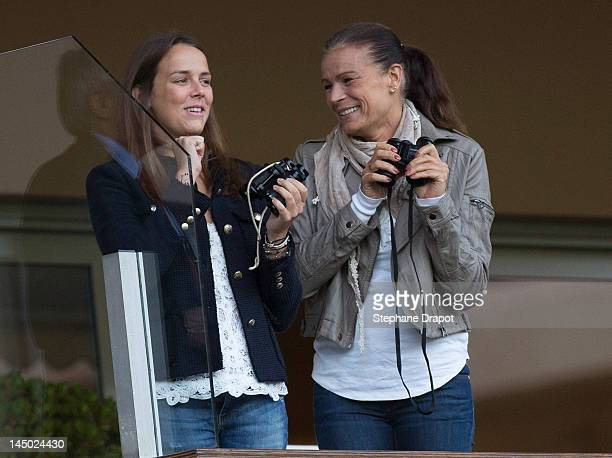 Pauline Ducruet and her mother Princess Stephanie look at the players at World Stars Match MC on May 22 2012 in Monaco Monaco