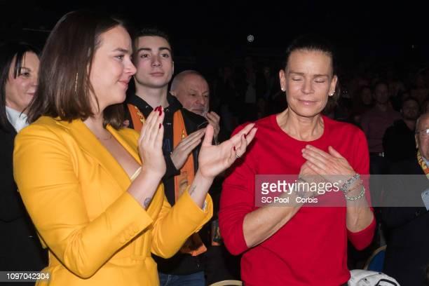 Pauline Ducruet and Princess Stephanie of Monaco attend the 43rd International Circus Festival of MonteCarlo on January 20 2019 in Monaco Monaco