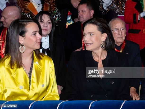 Pauline Ducruet and Princess Stephanie of Monaco attend the 44th International Circus Festival on January 21 2020 in Monaco Monaco
