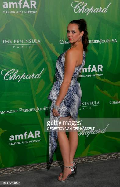 Pauline Ducruet daughter of Princess Stephanie of Monaco poses during a photocall as she arrives for a dinner organized by the foundation for Aids...