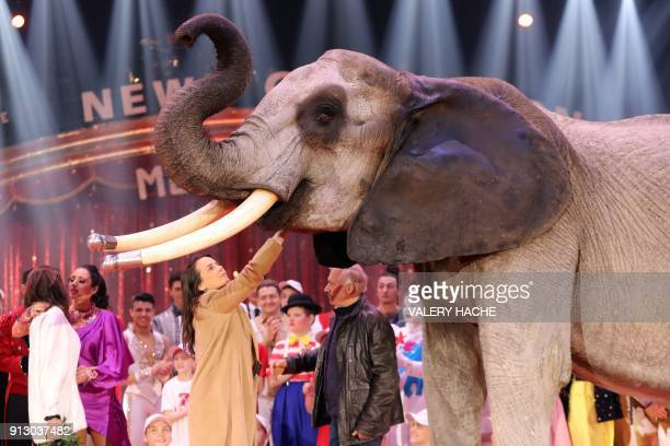 Pauline Ducruet daughter of Princess Stephanie of Monaco touches an elephant on the opening of the 7th MonteCarlo International Circus Festival 'New...