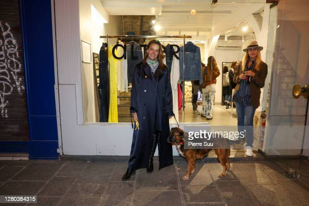 """Pauline Ducruet is seen during her """"Alter"""" pop up store opening cocktail on October 15, 2020 in Paris, France."""