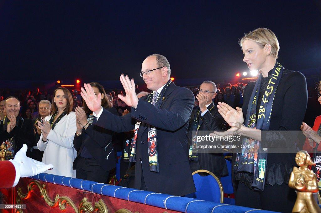 Pauline Ducruet, Prince Albert II of Monaco and Princess Charlene of Monaco attend the 38 th Monte-Carlo Circus international Festival, in Monaco.