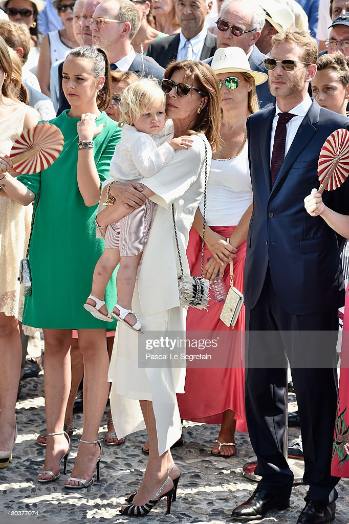 Pauline Ducruet, Princess Caroline of Hanover and Andrea Casiraghi attend the First Day of the 10th Anniversary on the Throne Celebrations on July 11, 2015 in Monaco, Monaco.