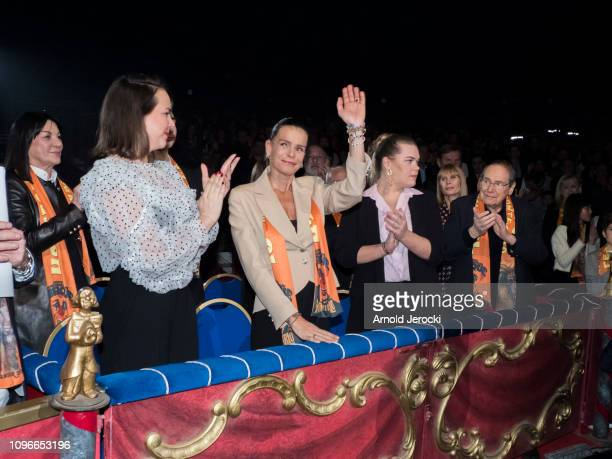 Pauline Ducruet Princess Stephanie of Monaco and Camille Gottlieb attend the 43rd International Circus Festival of MonteCarlo on January 19 2019 in...