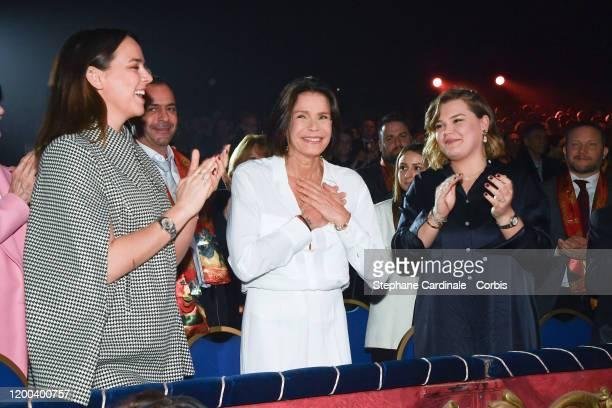 Pauline Ducruet Princess Stephanie of Monaco and Camille Gottlieb attend the 44th International Circus Festival on January 18 2020 in Monaco Monaco
