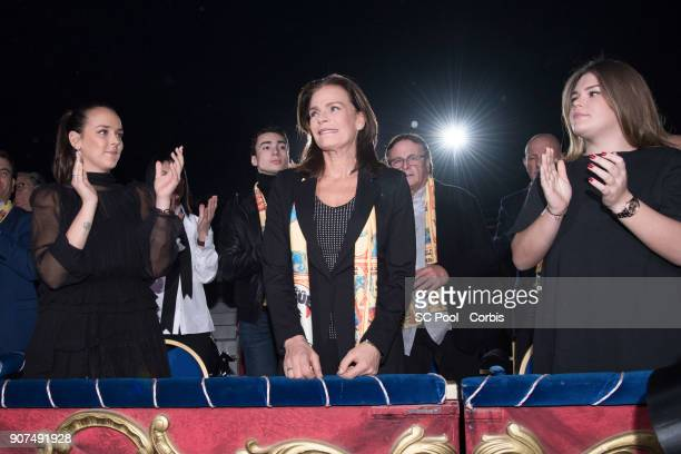 Pauline Ducruet Princess Stephanie of Monaco and Camille Gottlieb attend the 42nd International Circus Festival in Monte Carlo on January 19 2018 in...