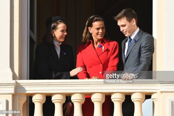 Pauline Ducruet Princess Stephanie of Monaco and Louis Ducruet attend Monaco National Day Celebrations on November 19 2018 in MonteCarlo Monaco