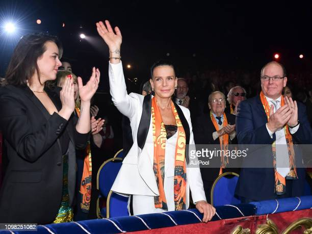Pauline Ducruet, Princess Stephanie of Monaco and Prince Albert II of Monaco attend the 43rd International Circus Festival of Monte-Carlo on January...