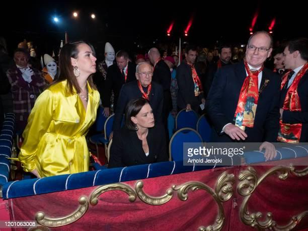 Pauline Ducruet Princess Stephanie of Monaco Prince Albert II of Monaco and Louis Ducruet attend the 44th International Circus Festival on January 21...