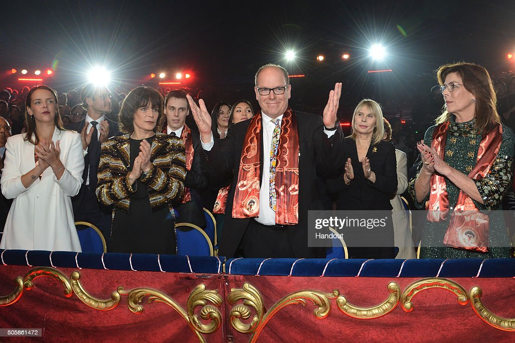 Pauline Ducruet, Princess Stephanie of Monaco, Prince Albert II of Monaco and Princess Caroline of Hanover attend the 40th International Circus Festival on January 19, 2016 in Monaco, Monaco.