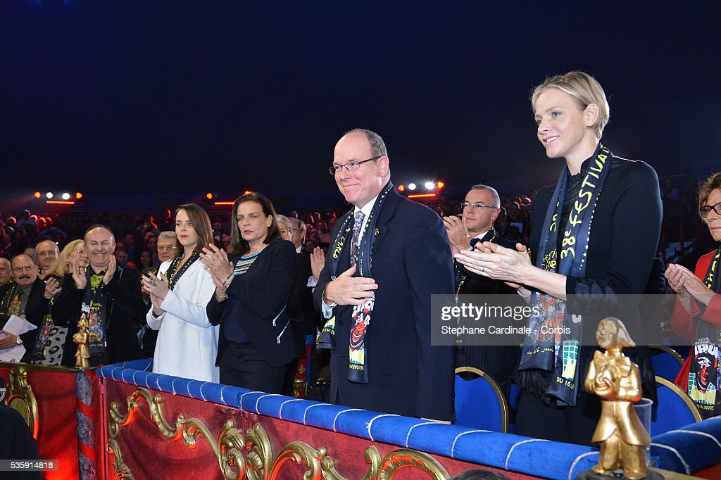 Pauline Ducruet, Princess Stephanie of Monaco, Prince Albert II of Monaco and Princess Charlene of Monaco attend the 38 th Monte-Carlo Circus international Festival, in Monaco.