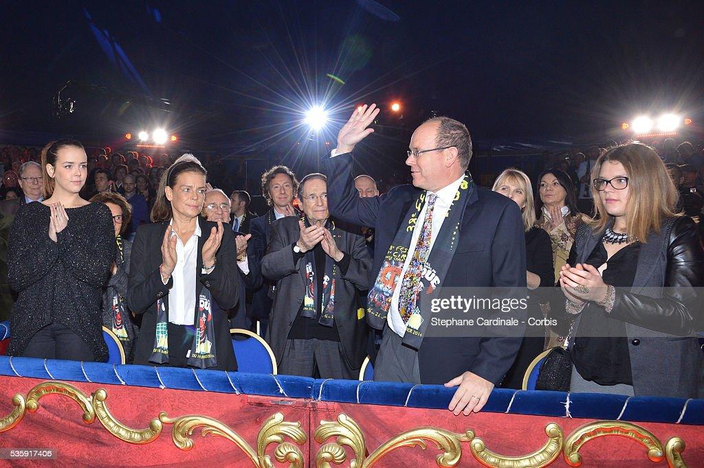 Pauline Ducruet, Princess Stephanie of Monaco, Prince Albert II of Monaco and Camille Gottlieb attend the 38th International Circus Festival, in Monaco.