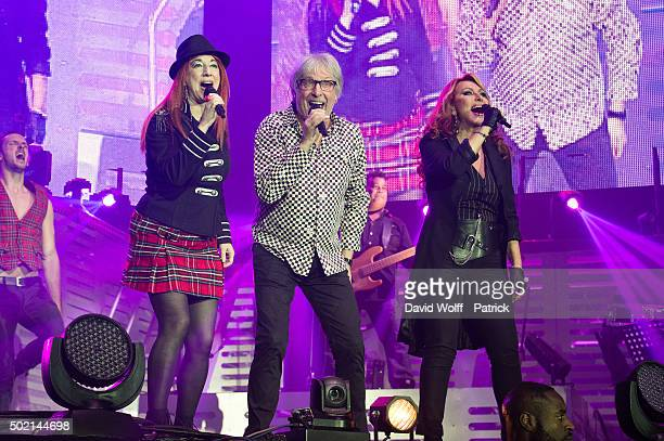 Pauline Ester Cookie Dingler and Julie Pietri perform during Stars 80 Show at AccorHotels Arena on December 20 2015 in Paris France