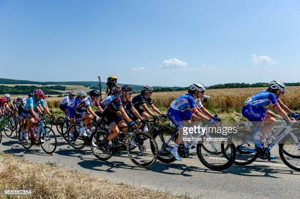 Pauline Ferrand Prevot of Canyon Ream Racing Audrey Cordon Ragot of Wiggle High5 and Roxane Fournier of FDJ Nouvelle Aquitaine Futuroscope during the...