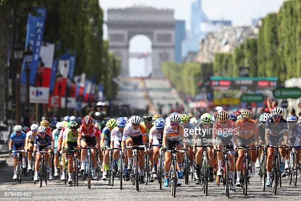 Pauline Ferrand Prevot of France and Raboliv Womencyclingteam leads down the ChampsElysees during La Course by Le Tour de France at Paris...