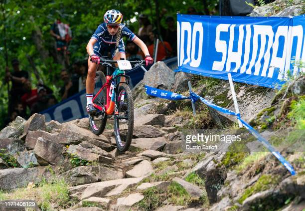 Pauline Ferrand Prevot of France during the Women's Elite Cross-country Olympic distance race at the UCI Mountain Bike World Championships at...
