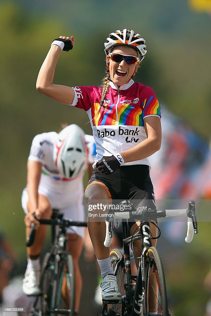 Pauline Ferrand-Prevot of France and Rabobank-Liv celebrates crossing the finish line (R) ahead of Lizzie Armitstead of Great Britain and Boels-Dolmans Cycling Team during the 17th edition of the La Fleche Wallonne Feminine on April 23, 2014 in Huy, Belgium. Part of the UCI Women's Road Cycling World Cup, the 127km parcours scales the famous Mur de Huy climb twice, with the final 9.3% average ascent providing the finish to the race.