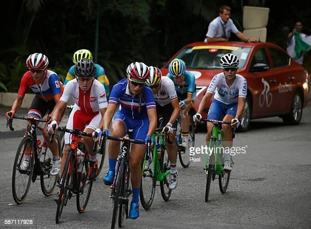 Pauline FerrandPrevot of France leads the break away in the women's cycling road race on Day 2 of the Olympics August 7 2016 in Rio de Janeiro Brazil