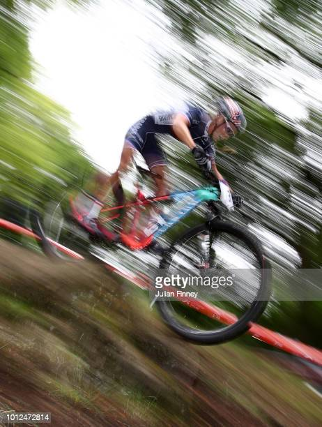 Pauline FerrandPrévot of France rides during the Women's Mountain Bike CrossCountry on Day Six of the European Championships Glasgow 2018 at Cathkin...