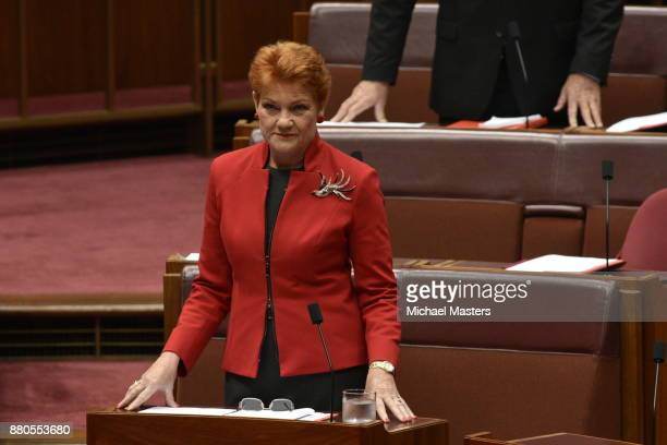 Pauline Hanson addresses the Senate at Parliament House on November 28 2017 in Canberra Australia The Senate is hoping to pass legislation on samesex...