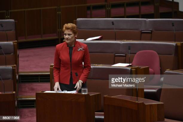 Pauline Hanson addresses the Senate at Parliament House on November 28 2017 in Canberra Australia The Senate is hoping to pass legislation on samesex...