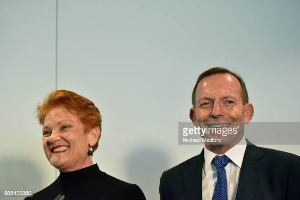 Pauline Hanson and Tony Abbott stand together during the launch of 'Pauline In Her Own Words' on March 27 2018 in Canberra Australia Her first book...