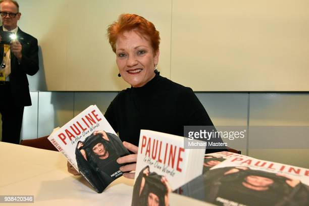 Pauline Hanson signs copies of her book during the launch of 'Pauline In Her Own Words' on March 27 2018 in Canberra Australia Her first book in 11...