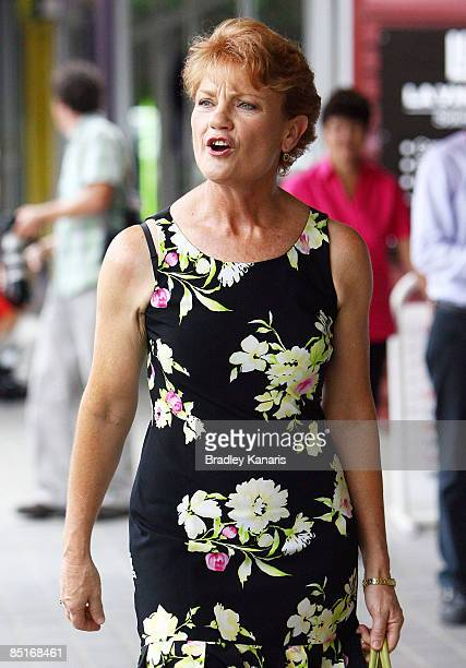 Pauline Hanson walks down the main street of Boonah after launching her Independent election campaign at Boonah Cultural Centre on March 2 2009 in...