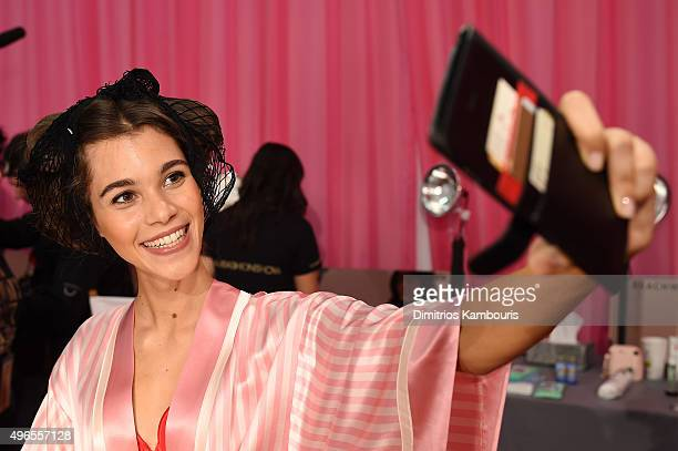 Pauline Hoarau is seen backstage before the 2015 Victoria's Secret Fashion Show at Lexington Avenue Armory on November 10 2015 in New York City