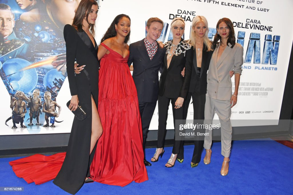Pauline Hoarau, Rihanna, Dane DeHaan, Cara Delevingne, Sasha Luss and Aymeline Valade attend the European Premiere of 'Valerian And The City Of A Thousand Planets' at Cineworld Leicester Square on July 24, 2017 in London, England.