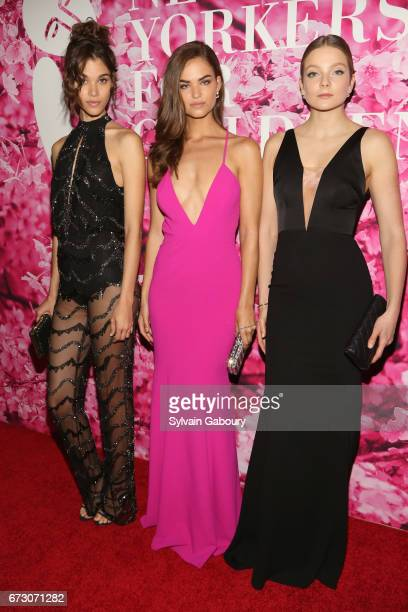 Pauline Hoarau Robin Holzken and Eniko Mihalik attends 2017 New Yorkers For Children's A Fool's Fete Enchanted Garden at Mandarin Oriental New York...