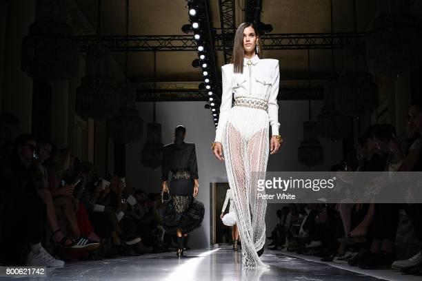 Pauline Hoarau walks the runway during the Balmain Menswear Spring/Summer 2018 show as part of Paris Fashion Week on June 24 2017 in Paris France