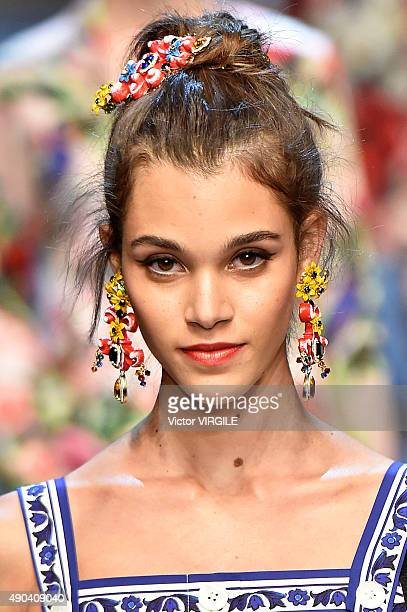 Pauline Hoarau walks the runway during the Dolce Gabbana Ready to Wear fashion show as part of Milan Fashion Week Spring/Summer 2016 on September 27...