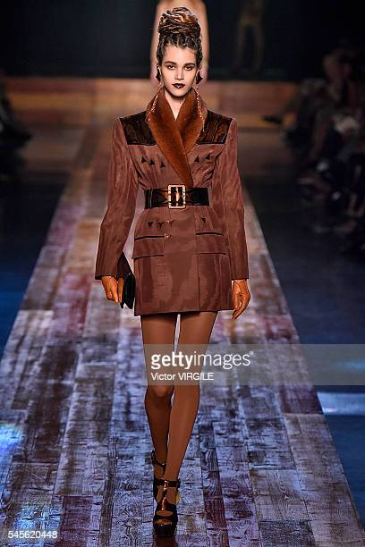 Pauline Hoarau walks the runway during the Jean Paul Gaultier Haute Couture Fall/Winter 20162017 show as part of Paris Fashion Week on July 6 2016 in...
