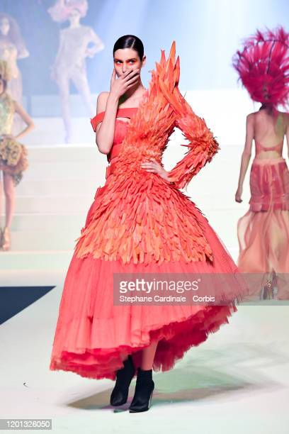 Pauline Hoarau walks the runway during the JeanPaul Gaultier Haute Couture Spring/Summer 2020 show as part of Paris Fashion Week at Theatre Du...