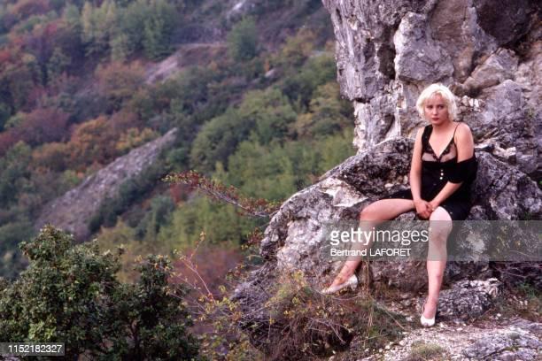 Pauline Lafont sur le tournage de son dernier film 'Deux minutes de soleil en plus' réalisé par Gerard Vergez en novembre 1987 France