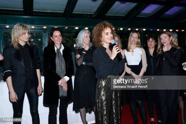 Pauline Lefevre, a guest, Tatiana de Rosnay, President of the Jury, writer Leila Slimani, Adelaide de Clermont-Tonnerre, Isabelle Alonso and Caroline...