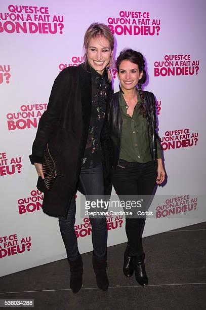Pauline Lefevre and Barbara Cabrita attend the 'Qu'est Ce Qu'on A fait Au Bon Dieu' : Party At Le Showcase -Pont Alexandre III on December 8, 2014 in...