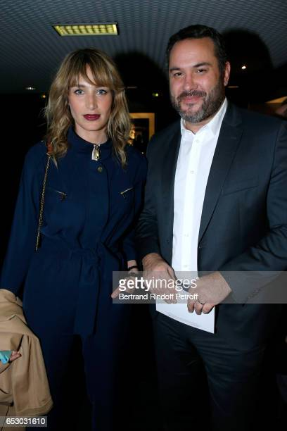 Pauline Lefevre and Bruce Toussaint attend the 'Chacun sa vie' Paris Premiere at Cinema UGC Normandie on March 13 2017 in Paris France