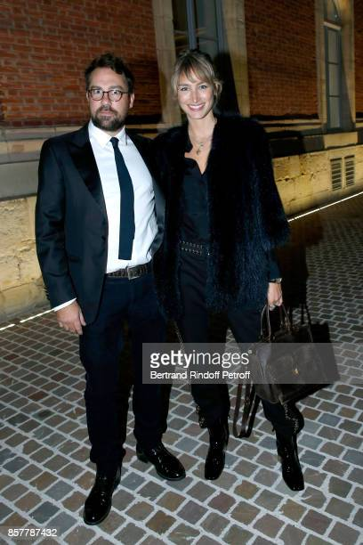 Pauline Lefevre and her husband Julien Ansault attend the Diner Surrealiste to celebrate the 241th birthday of Maison Louis Roederer on October 4...