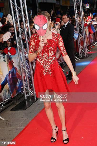 Pauline Lefevre attends 'The Amazing SpiderMan 2' Paris Premiere at Le Grand Rex on April 11 2014 in Paris France