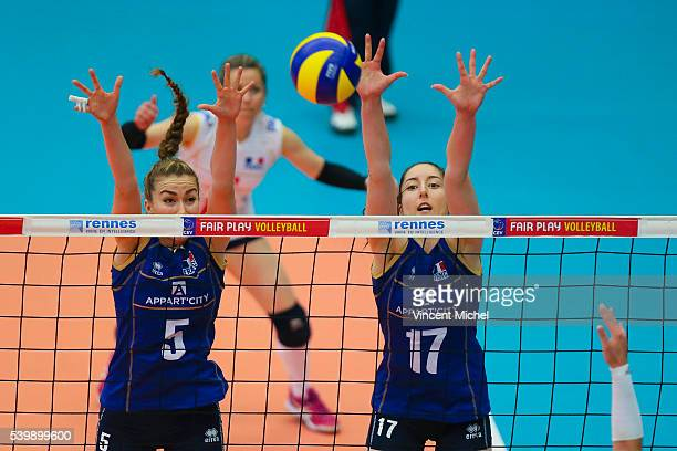 Pauline Martin and Alexandra Dascalu of France during the CEV European League match at Salle Colette Besson on June 11 2016 in Rennes France