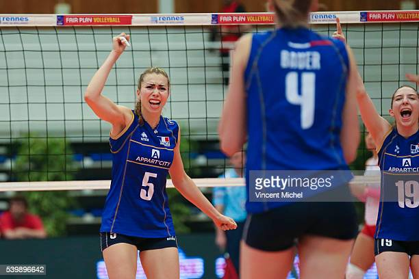 Pauline Martin of France during the CEV European League match at Salle Colette Besson on June 11 2016 in Rennes France