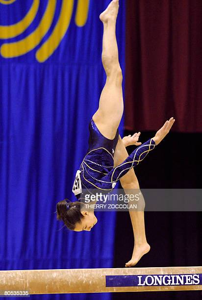 Pauline Morel member of the French senior team performs on beam during the Euro2008 women artistic gymnastics championships on April 5 2008 in...